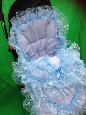Pram Pushchair Frilly Blue Bling Cosytoes Footmuff - Romany