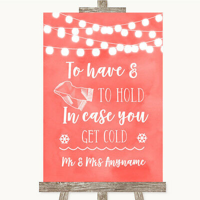 Wedding Sign Poster Print Coral Watercolour Lights Wedding Blanket Scarf