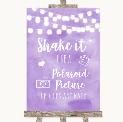 Wedding Sign Poster Print Lilac Watercolour Lights Photo Picture Picture
