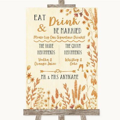 Wedding Sign Poster Print Autumn Leaves Signature Favourite Drinks