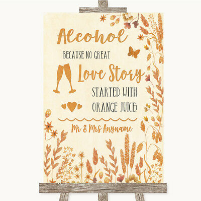 Wedding Sign Poster Print Autumn Leaves Alcohol Bar Love Story