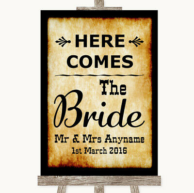 Wedding Sign Poster Print Western Here Comes Bride Aisle Sign