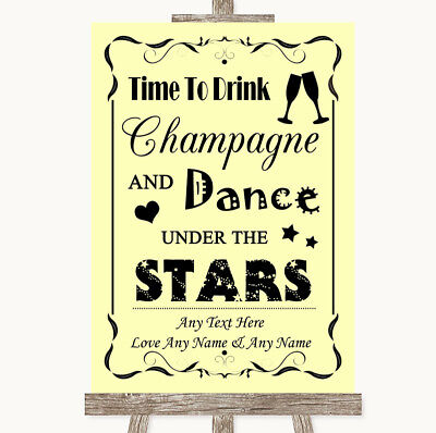 Wedding Sign Poster Print Yellow Drink Champagne Dance Stars