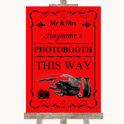 Wedding Sign Poster Print Red Photobooth This Way Left