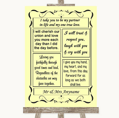 Wedding Sign Poster Print Yellow Romantic Vows