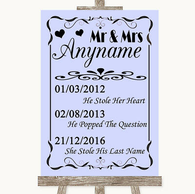 Wedding Sign Poster Print Lilac Important Special Dates