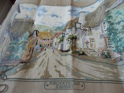 "Penelope  Part completed tapestry -Porlock Somerset, -46 x 66cms (18""x26"") BIG"