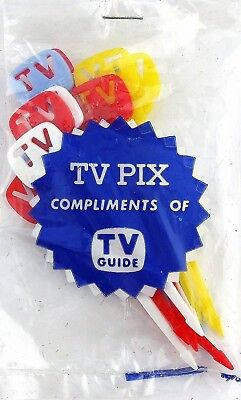 27b3d9e02ad Vintage TV PIX Compliments of TV Guide Pack of 10 Colored Branded Plastic  Picks