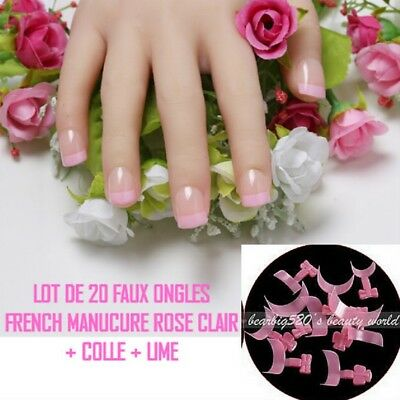 Lot 20 Tips Faux Ongle Rose French Manucure Gel Uv Vernis Colle Lime Ong110