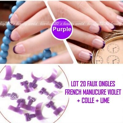 Lot 20 Tips Faux Ongle Violet French Manucure Gel Uv Vernis Colle Lime Ong111