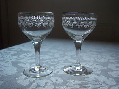 """Two Vintage Antique collectible Glasses Cordial Etched Design small 4"""" high"""