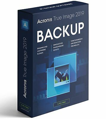 Acronis True Image 2019 3-Geräte -  Backup - Windows / MAC / Android -  Box