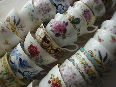 Job Lot of 5 Vintage Pretty Bone China Tea Cups great for Weddings, Tearooms