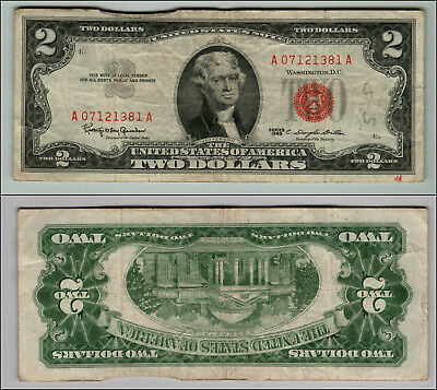 1- 1963 Series $2 Dollar Bill Red Seal United States Currency LOT J578