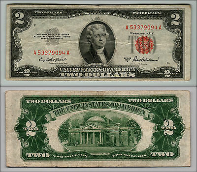 1953A $2 Dollar Bill Old Us Note Legal Tender Paper Money Currency Red Seal Z225