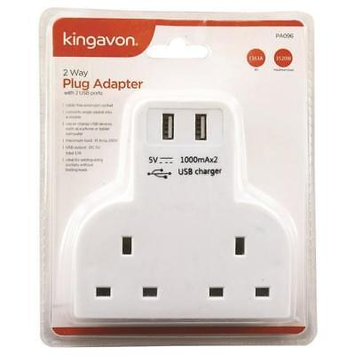 2 WAY PLUG ADAPTER WITH 2 USB PORTS UK Wall SCOKET  RAVEL ADOPTER CABEL FREE NEW