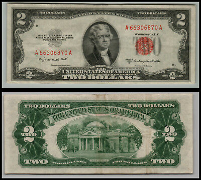 1953B  $2 Dollar Bill Old Us Note Legal Tender Paper Money  Red Seal E145