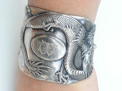 Antique Sterling Silver 925 Chinese Export Dragon Wide Cuff Bracelet Wang Hing