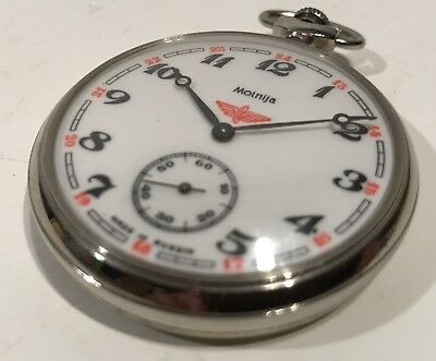 RARE Vintage Railroad Pocket Watch Molnija Soviet USSR Train CCCP 18 Jewels Nice