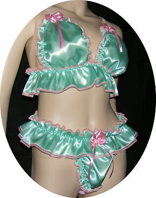 Sissy Maid Adult Baby Bustier + Tanga Satin L/XL