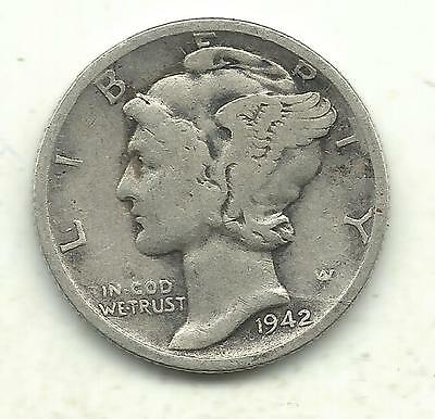 Very Nice Vintage Better Grade 1942 S/s Mercury Silver Dime-Old Us Coin-Dec403