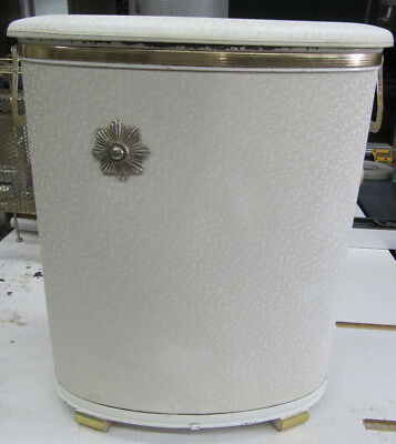 VTG Mid Century Hollywood Regency Pearl Wick White Gold Accent Laundry Hamper