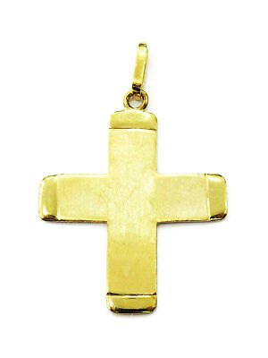 14K Yellow Gold Cross Crucifix Charm Necklace Pendant ~ 2.4g