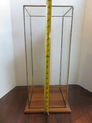 Vtg Box Tower Glass with Mirror Back Display Case with Walnut Wood Base