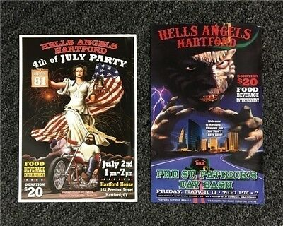 Harley Hells Angels M/C Support 81 Bikers Hartford, CT. (two) Color Flyers