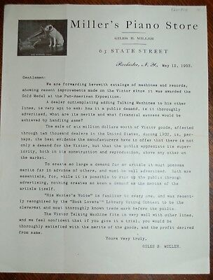 Vintage 1903 RCA VICTOR PHONOGRAPH Promotion Letter to Dealers Rochester, NY