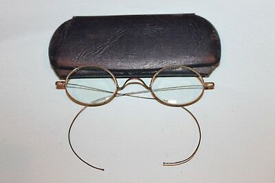 Vintage Antique Old Glasses Eyeglasses Spectacles Wire Frame With Case