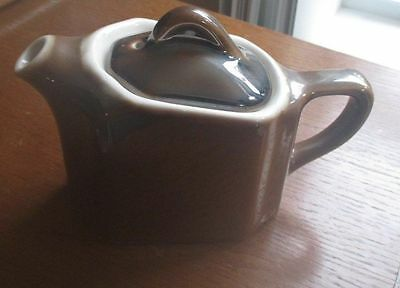"""ANTIQUE COORS THERMO PORCELAIN Pottery BROWN PITCHER TEA COFFEE POT 4"""" Creamer"""