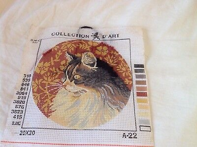 Tapestry Unfinished Cat 20 x 20 cm Collection D'Art A22
