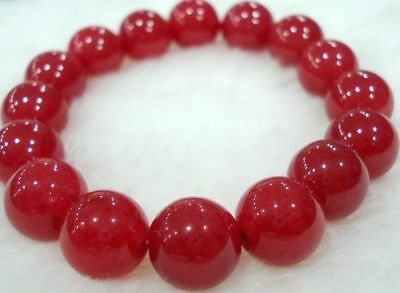 Beautiful 8mm Natural Red Jade Round Beads Bracelet AAA 7.5""