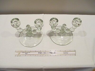 """Pair Of Vintage 5"""" DOUBLE CANDLE HOLDERS - Pressed Crystal Glass W/Leaf Etching"""