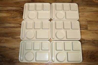 6 Vintage School Divided Lunch Trays Texas Ware SiLite Edward Don 6 Compartment