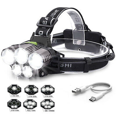 350000LM 5X XML T6 LED Headlamp Rechargeable Head Light Flashlight Torch Lamp