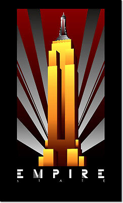 Art Deco Poster New York.Empire State Building New York Vintage Art Deco Poster Reproduction