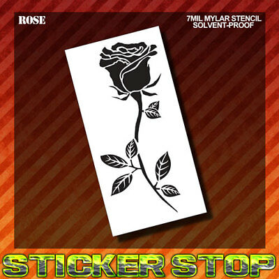 ROSE MYLAR STENCIL (Airbrush, Craft, Scrapbook, Re-Usable, Flower)