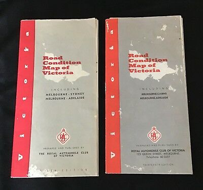 2 Vintage Road Condition Maps Of Victoria- Advertising-Caltex -RACV - Touring