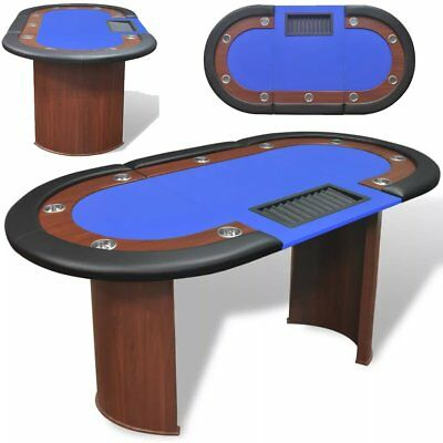 10-Player Poker Casino Card Game Table with Dealer Area and Chip Tray Blue US
