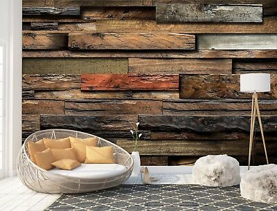 Wall Mural Photo Wallpaper Picture EASY-INSTALL Fleece Wooden Colored Logs 11916