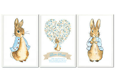 "Watercolour Peter Rabbit Wall Print Set - Sizes 10"" x 8"",A4,A3"