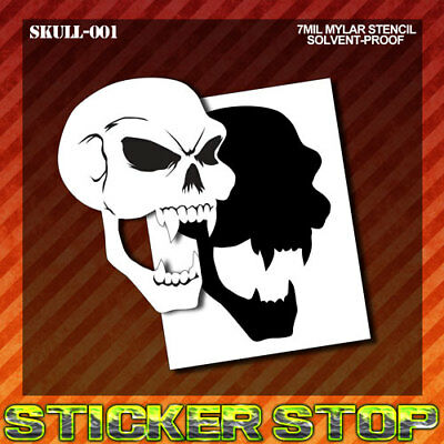 SKULL VAMPIRE MYLAR STENCIL (Airbrush, Craft, Re-Usable) SKULL-001