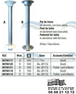 Pied De Table Ø 60 Mm Fixe Aluminium 680 Ou 760 Mm