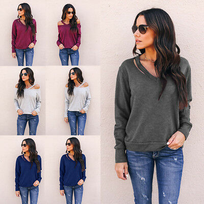 Fashion Women Ladies Casual Pullover Loose Long Sleeve Blouse Shirt S-XL Hot