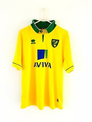 Norwich City Home Shirt 2012. Size 40 (XS, Y). Errea. Yellow Adults Football Top