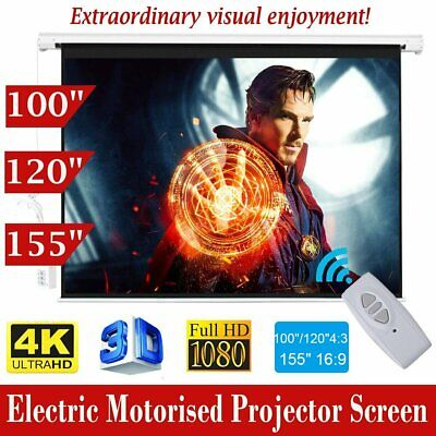 """100"""" 120"""" 155"""" HD Projector Screen Portable Electric Motorised TV Projection 3D"""