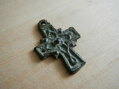 Ancient Byzantine Decorated Cross Pendant 12th - 13th Century Bronze