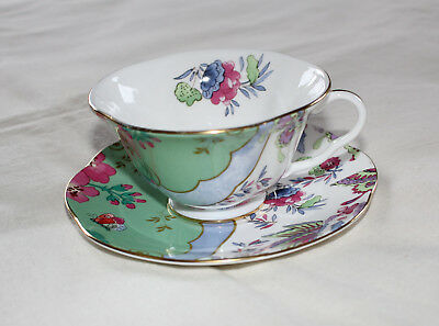 Wedgwood Butterfly Bloom Bone China Green Design Teacup & Saucer